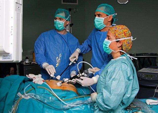 El coordinador de la Unidad de Innovación en Cirugía Mínimamente Invasiva del Hospital Virgen del Rocío, Salvador Morales Conde, en una operación de cirugía bariátrica por laparoscopia.