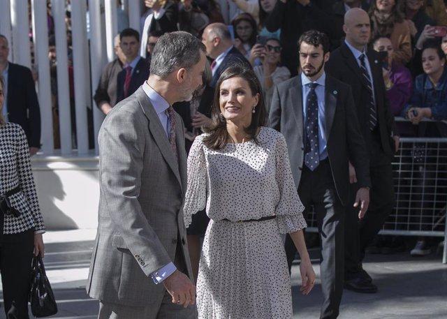 Los Reyes Felipe VI y doña Letizia  visitan la parroquia de Nuestra Señora de la Asunción con motivo del Año Jubilar Mariano del Rocío Almonte (Huelva) a 14 de febrero del 2020