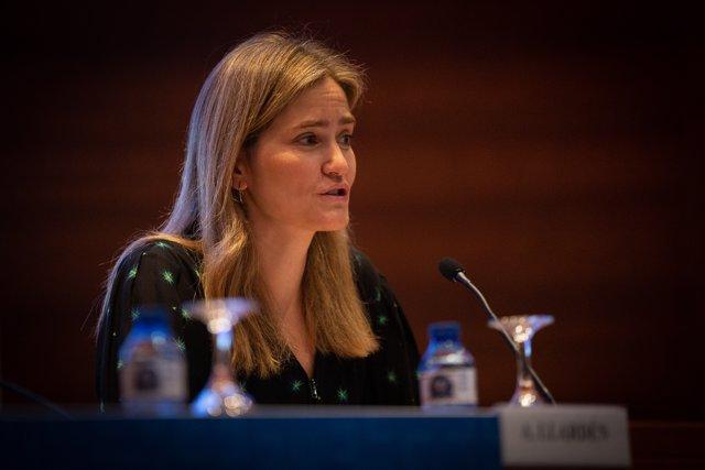 """La secretaria de Estado de Energía, Sara Aagesen, inaugura el VIII Simposio Empresarial Institucional, """"El papel de la Eficiencia Energética en la consecución de los objetivos de Transición Ecológica"""", en Barcelona (España), a 03 de febrero de 2020."""