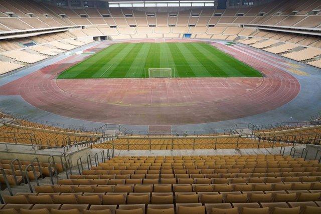 Estadio de la Cartuja, sede de las cuatro próximas ediciones de la final de la Copa del Rey de fútbol. Sevilla a 12 de febrero 2020