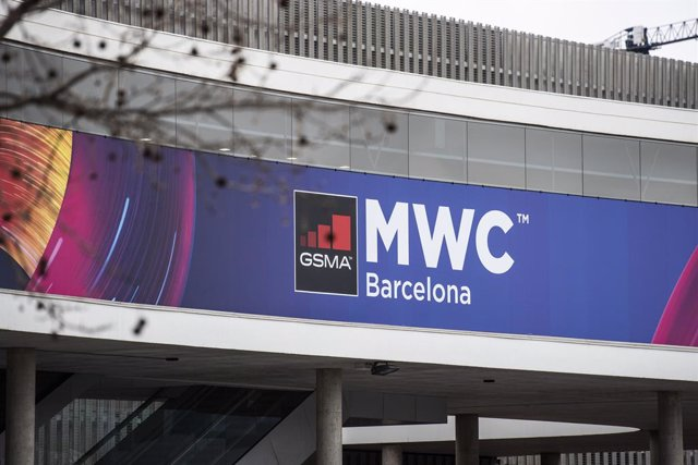 Exterior del pavelló de l'esdeveniment Mobile World Congress