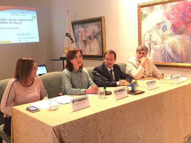 La consejera de Sanidad del Gobierno de Canarias, Teresa Cruz (en el centro), en el plenario de la estrategia de salud