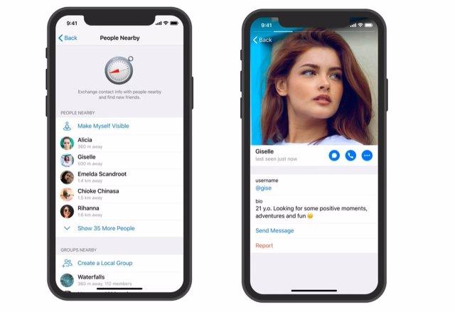 Función de añadir contactos con perfiles de Telegram.