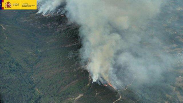 Incendios ocurridos este sábado en las provincias de Lugo y Ourense.