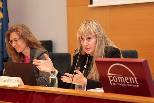 La presidenta de Fepime Catalunya, Maria Helena de Felipe, y la miembro de la Junta de Gobierno del Col·legi d'Economistes Sofia Rodríguez.