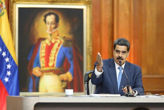 El presidente de Venezuela, Nicolas Maduro, durante una rueda de prensa con medios internacionales. Marcelo Garcia/Prensa Miraflores/dpa