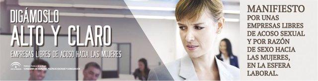 Imagen de la campaña 'Digámoslo alto y claro' contra el acoso laboral a la mujer del IAM