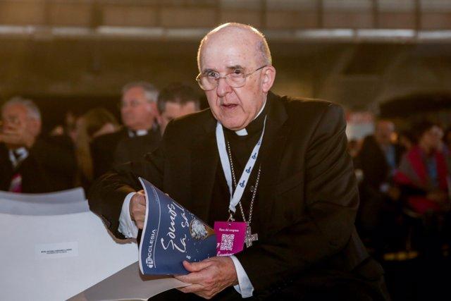 El arzobispo de Madrid, el Cardenal Carlos Osoro, en la apertura del Congreso de los Laicos 2020 en el Pabellón de Cristal de la Casa de Campo de Madrid (España), a 14 de febrero de 2020.