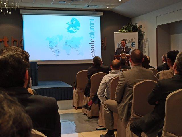 El ministro de Presidencia y Economía, Jordi Gallardo, clausura la jornada de ESADE Alumni que se ha celebrado en Andorra