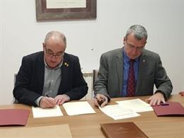 El conseller d'Educació de la Generalitat, Josep Bargalló, amb el Síndic d'Aran, Francès Boya