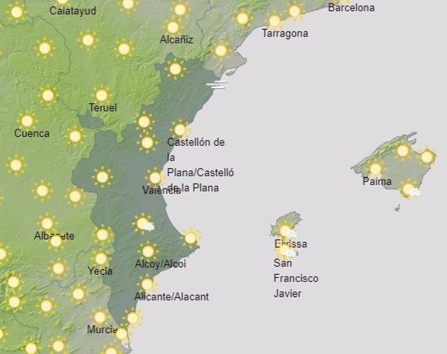 Predicción de Aemet para la Comunitat Valenciana del 15 de febrero
