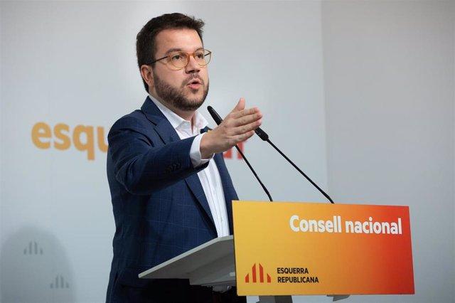 Pere Aragonès en el Consell Nacional de ERC el 15 de febrero de 2020