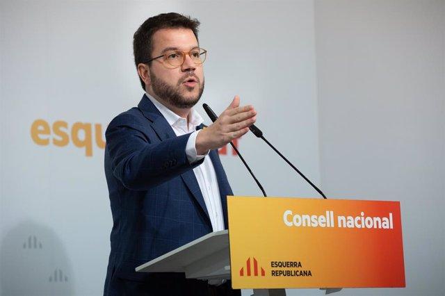 Pere Aragonès en el Consell Nacional d'ERC el 15 de febrer de 2020