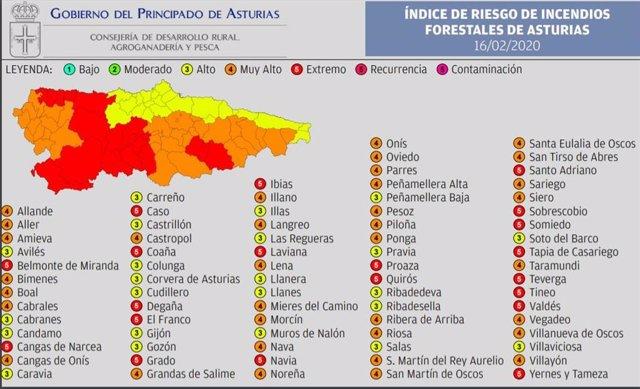 Mapa de Riesgos Forestales.