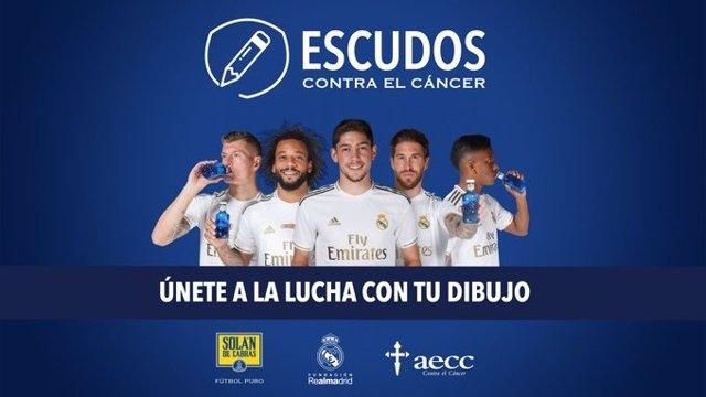 El Real Madrid y Solán de Cabras presentan la campaña 'Escudos contra el cáncer'
