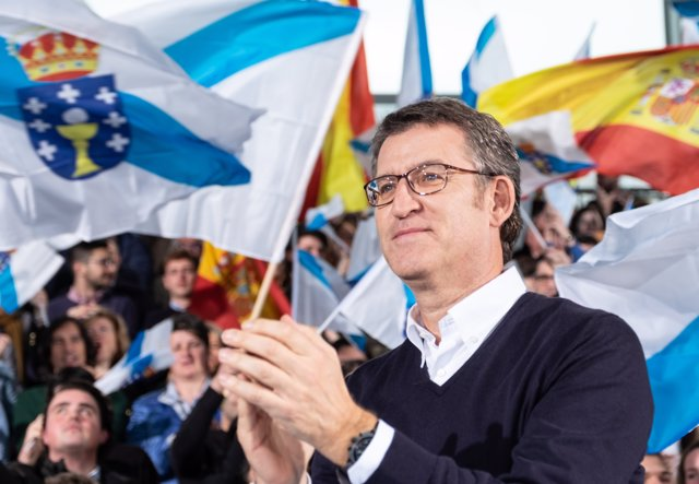 El presidente de la Xunta y del PP de Galicia, Alberto Núñez Feijóo, en su proclamación como candidato a las elecciones autonómicas del 5 de abril.
