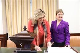 La presidenta de la Comisión de Seguimiento del Pacto de Estado contra la Violencia de Género, la diputada del PSOE, Beatriz Carrillo de los Reyes