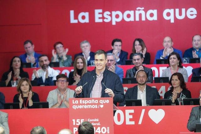 El president del Govern central, Pedro Sánchez, intervé en el Comitè Federal del PSOE a Ferraz (Madrid), 15 de febrer del 2020.