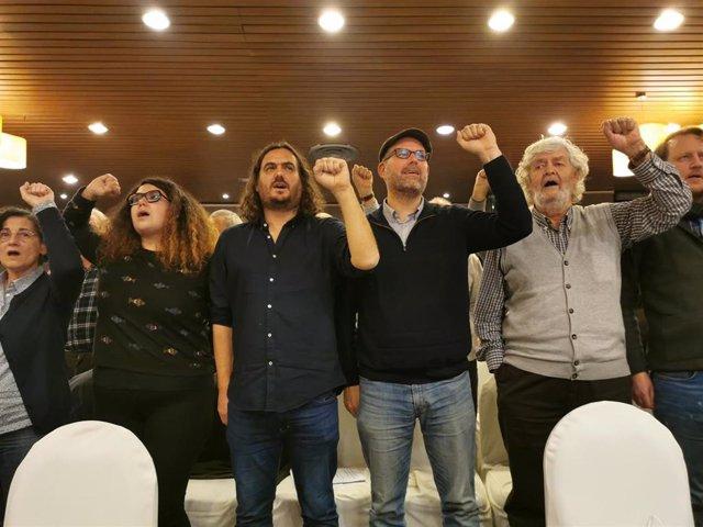 Oriana Méndez, Antón Sánchez, Martiño Noriega y Xosé Manuel Beiras en la IV Asemblea Nacional de Anova-Irmandade Nacionalista