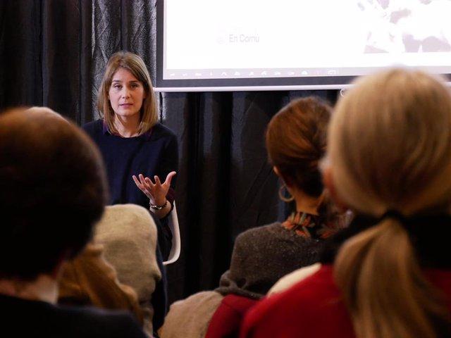 La coordinadora nacional de los comuns y aspirante a liderar la candidatura en las próximas elecciones catalanas, Jéssica Albiach, durante un acto de la formación en Tarragona