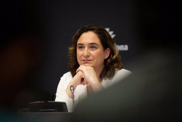 La alcaldesa de Barcelona, Ada Colau en rueda de prensa para informar sobre la cancelación de Mobile World Congress 2020.