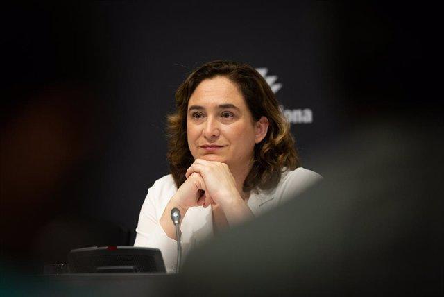 L'alcaldessa de Barcelona, Ada Colau en roda de premsa per informar sobre la cancellació de Mobile World Congress 2020.