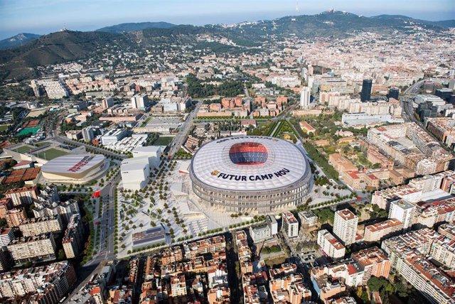 Imagen aérea del futuro Camp Nou del FC Barcelona