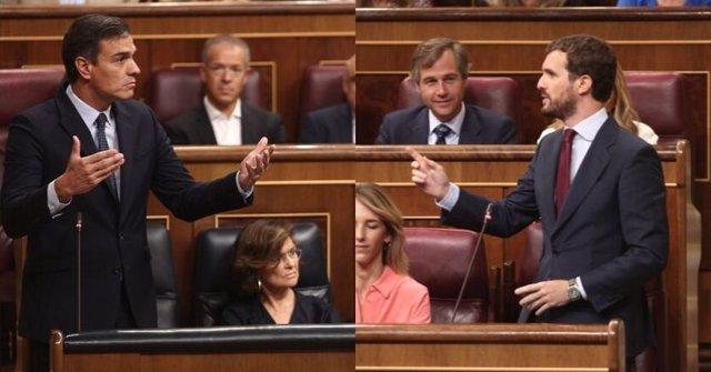 Montaje fotográfico del presidente del Gobierno en funciones, Pedro Sánchez, y el líder del PP, Pablo Casado, durante la sesión de control al Gobierno en el Congreso