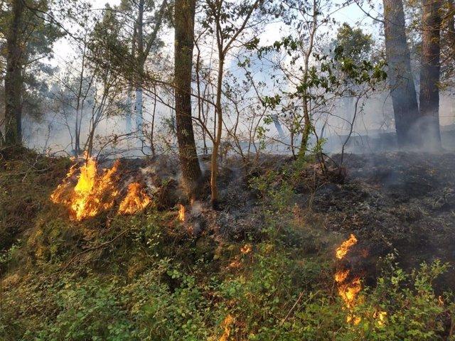Imagen de archivo de un incendio en Rianxo el 26 de marzo de 2019.