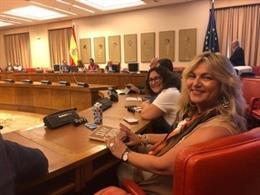 La presidenta de la Comisón del Pacto de Estado contra la Violencia de Género, Beatriz Carrillo de los Reyes, en el Congreso