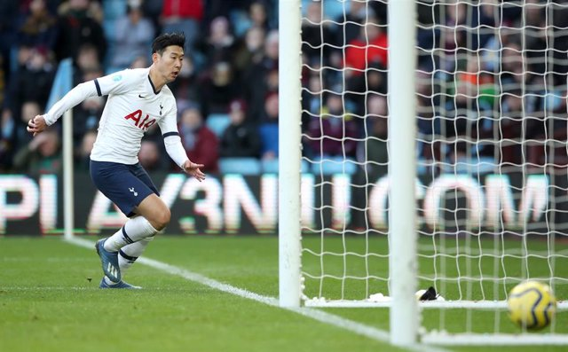 16 February 2020, England, Birmingham: Tottenham Hotspur's Son Heung-min scores his side's third goal during the English Premier League soccer match between Aston Villa and Tottenham Hotspur at Villa Park. Photo: Nick Potts/PA Wire/dpa