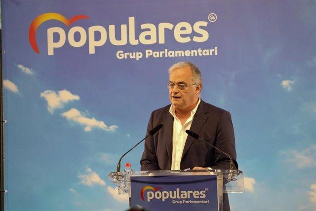 Esteban González Pons durante su intervención en la clausura de las Jornadas Interparlamentarias del Partido Popular de la Comunidad Valenciana (PPCV), en el Ateneo Mercantil, en Valencia (España), a 31 de enero de 2020.