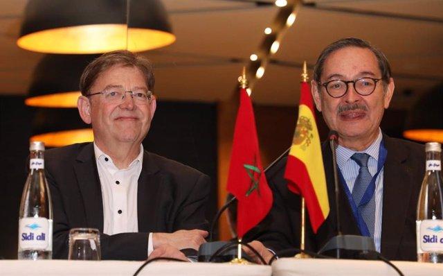 El presidente de la Generalitat, Ximo Puig, y el embajador de España en Marruecos, Ricardo Diez,  en Casablanca, en el inicio de la misión comercial e institucional en Marruecos junto a empresarios valencianos