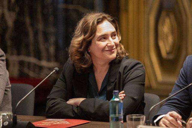 L'alcaldessa de Barcelona, Ada Colau, durant la reunió amb agents econòmics després de la cancel·lació del Mobile World Congress, a Barcelona (Catalunya / Espanya), a 14 de febrer de 2020.
