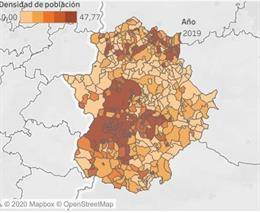 Densidad de población en Extremadura 2019