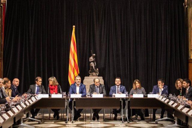 Reunió entre el Govern de la Generalitat i les empreses i administracions relacionades amb el Mobile World Congress després de la cancel·lació, Barcelona (Catalunya /Espanya), 17 de febrer del 2020.
