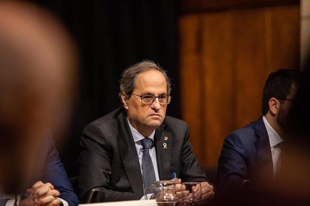 El president de la Generalitat, Quim Torra, durante la reunión entre el Govern de la Generalitat y las empresas y administraciones relacionadas con el Mobile World Congress tras su cancelación, en Barcelona (Catalunya /España), a 17 de febrero de 2020.