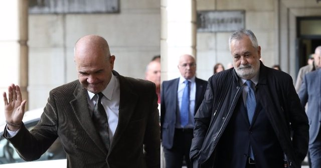 Los expresidentes de la Junta de Andalucía Manuel Chaves y José Antonio Griñán llegan a la Audiencia de Sevilla por el caso de los ERE