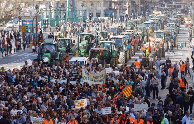 Tractorada en València en favor del futuro del sector