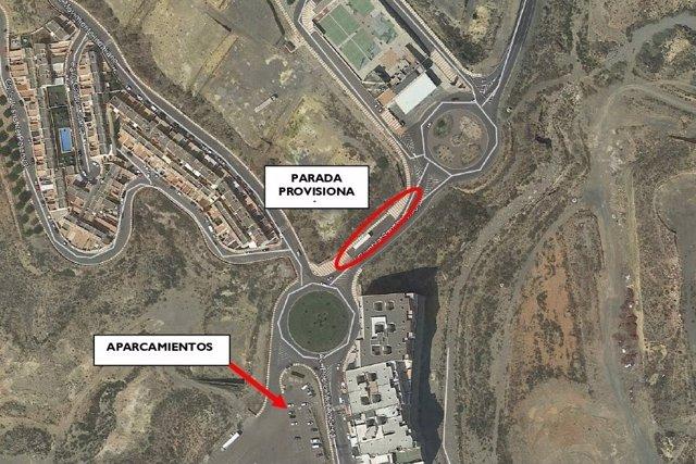 Plano de la parada de bus habilitada por el Consorcio Metropolitano de Transportes