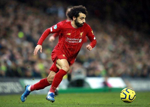 El delantero del Liverpool Mohamed Salah en un partido de la Premier League contra el Norwich City