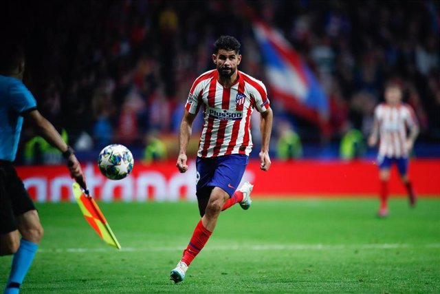 Diego Costa of Atletico de Madrid during the UEFA Champions League football match played between Atletico de Madrid and Bayer 04 Leverkusen at Wanda Metropolitano Stadium in Madrid, Spain, on October 22, 2019.