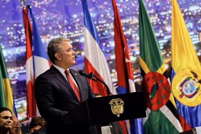 El presidente de Colombia, Iván Duque, durante la 49ª Asamblea General de la OEA en Medellín