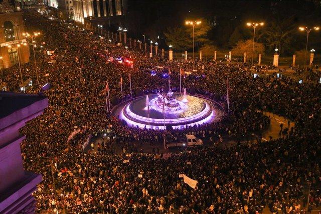 Manifestación de la huelga feminista en Madrid.