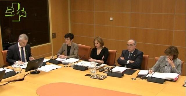 El Lehendakari, Iñigo Urkullu, interviene en el Parlamento Vasco junto a los consejeros de Medio Ambiente, Seguridad, Trabajo y Salud, para dar explicaciones de las actuaciones tras el derrumbe en Zaldibar
