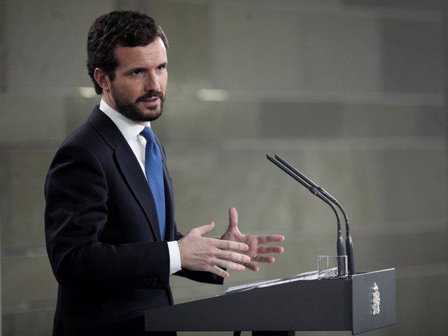 El president del PP, Pablo Casado, en roda de premsa després de la reunió amb el president del Govern d'Espanya, Pedro Sánchez, Madrid (Espanya), 17 de febrer del 2020.
