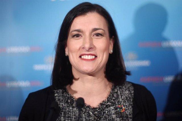 La alcaldesa de Santander, Gema Igual, durante la conferencia coloquio 'Agenda Urbana 2030 Foro de la nueva ciudad', organizado por Nueva Economía Fórum, en Madrid (España), a 18 de febrero de 2020.