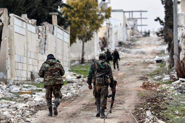 Tropas del Ejército sirio tras tomar la zona de Rashideen