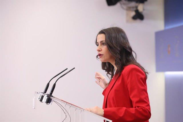 La presidenta i portaveu del Grup Parlamentari Ciutadans al Congrés, Inés Arrimadas (arxiu).