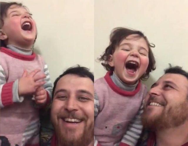 Cada vez que una bomba cae en Siria este padre transforma el miedo en un juego para hacer reír a su hija de tres años